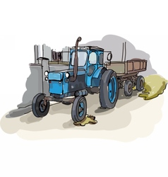 Digital painted old belarus tractor vector image