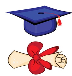 diploma and graduation cap vector image