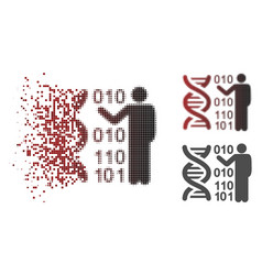 Dissipated dotted halftone dna research icon vector