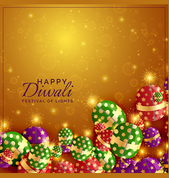Diwali crackers background with shiny sparkles vector
