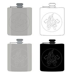 Drinking flask icon set vector image