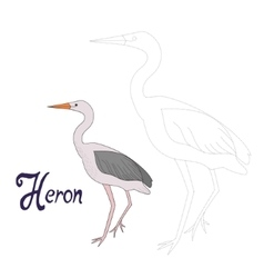Educational game connect dots to draw heron bird vector