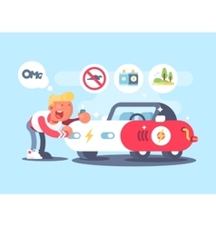 Electric car and happy owner vector image