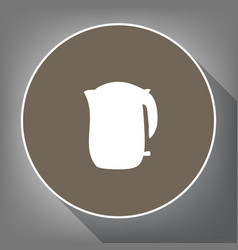 electric kettle sign white icon on brown vector image