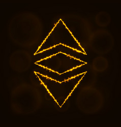 Ethereum classic currency silhouette of lights vector