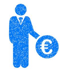 Euro investor icon grunge watermark vector
