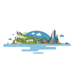 Flat city image vector