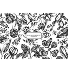 floral design with black and white ficus iresine vector image