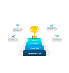 four steps with a golden cup at top growth vector image