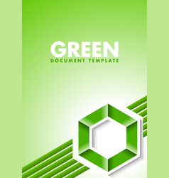 green document template with lines and hexagonal vector image