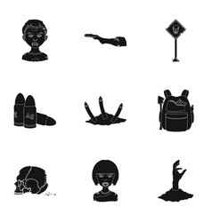Ground zombie corpse and other web icon in black vector