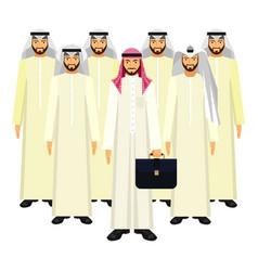Group of arabian business people in good mood vector