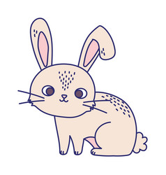 Happy easter cute little rabbit cartoon season vector