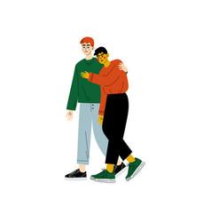 happy gay couple two men hugging romantic vector image