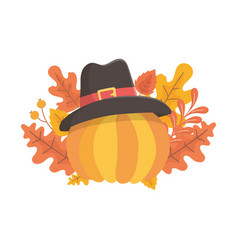 happy thanksgiving day pumpkin with pilgrim hat vector image