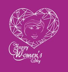 Happy womens day girl greeting concept purple vector