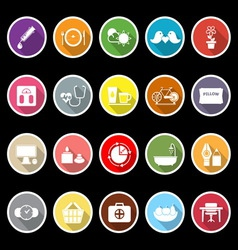 Health behavior flat icons with long shadow vector