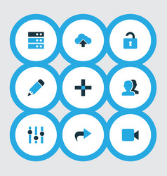 Interface icons colored set with add unlock edit vector