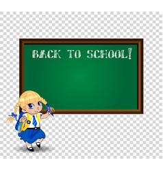 kawaii school girl near blackboard with chalk vector image