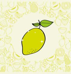 lemon fruits nutrition background pattern drawing vector image