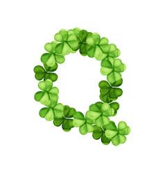 Letter q clover ornament vector