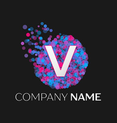 Letter v logo with blue purple pink particles vector