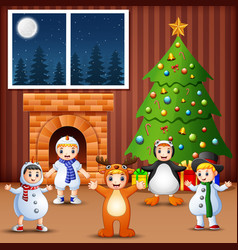 Living room decoration for christmas and new year vector