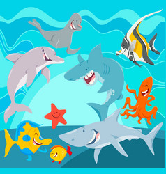 Marine animals cartoon characters underwater vector