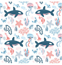 marine inhabitants seamless patern with hand drawn vector image