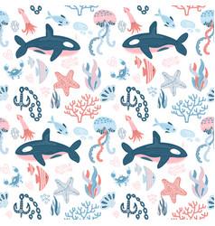 marine inhabitants seamless pattern with hand vector image