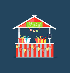 Market counter with candies in boxes shop vector