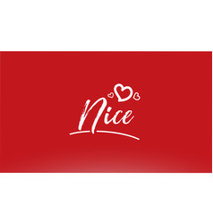 nice white city hand written text with heart logo vector image