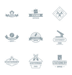 Office logo set simple style vector