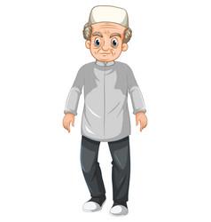 Old muslim grandfather cartoon character vector