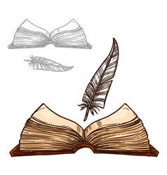 old notepad book and ink feather quill pen vector image