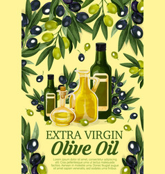 Olive oil bottle with black and green fruits vector