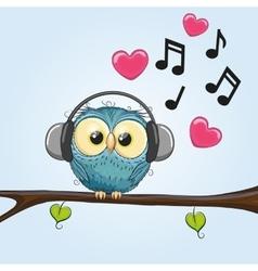 Owl with headphones vector