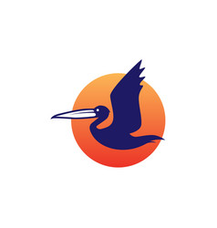 pelican gulf bird coast beach logo icon vector image