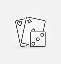Playing cards with dice icon vector