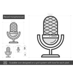 Record microphone line icon vector