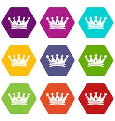 Regal crown icons set 9 vector