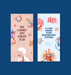 Respiratory flyer design with human anatomy vector