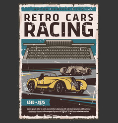 retro cars on race track motorsport vector image