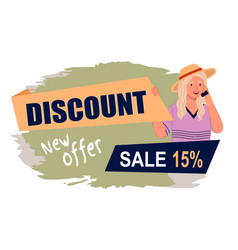 Sale banner with beautiful blonde woman in hat vector