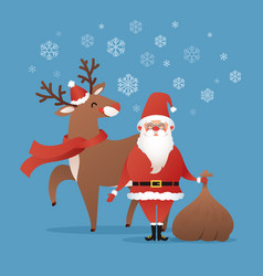 santa claus and rudolph deer merry christmas vector image