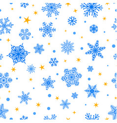 seamless pattern of snowflakes blue on white vector image