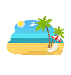 Seaview seascape with tropical beach chaise longue vector