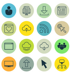 Set 16 internet icons includes send data vector
