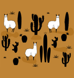 Set of alpaca and cactus elements vector