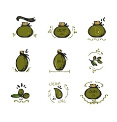 Set of doodles olive oil icons vector